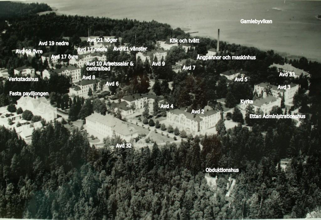 Flygbild över Västerviks hospital